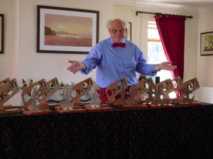 John Ward with some Malcolm Hardee Awards for Comedy