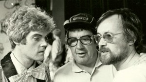 Tiswas, 1981: Den Hegarty, Frank Carson and associate producer David McKellar