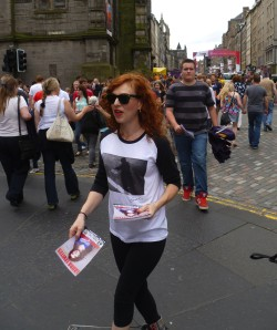 Laura Levites flyers in the Royal Mile yesterday