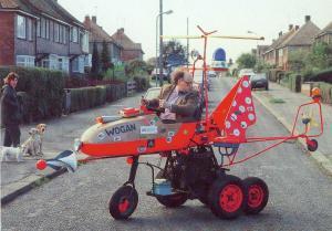 John Ward drives home in his Wardmobile