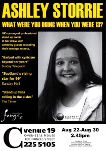 Ashley's Edinburgh Fringe show when she was 13