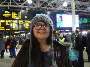 Ashley Storrie in Edinburgh's Waverley station yesterday