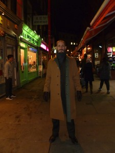 Chris Dangerfield in Soho yesterday, just off Chinatown