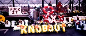 A wreath at Malcolm Hardee's funeral in 2005