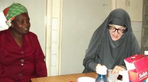 Kate Copstick (right) at work for Mama Biashara
