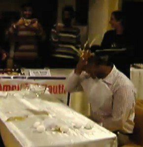 Egg smashes on forehead in Amritsar Test Match