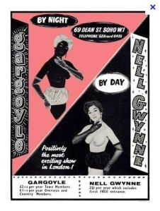 A poster for the Nell Gwynn/Gargoyle Club