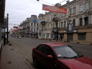 A street in Kiev at 9.40am this morning