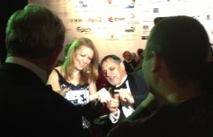 Zap, the magician, mystifying a glamorous guest last night