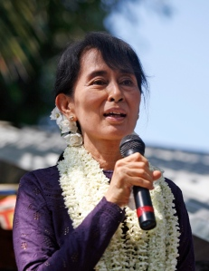 Aung San Suu Kyi addresses a political meeting