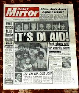 The non-colour printed Daily Mirror in 1986
