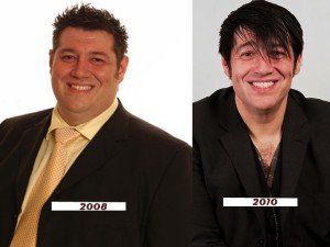 Changing his image - Doug Segal in 2008 (left) and in2011
