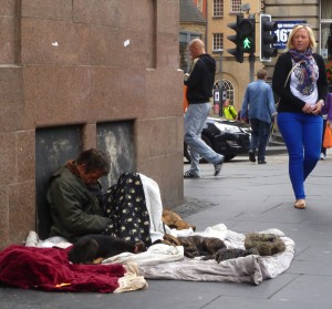 An Edinburgh street during the Fringe