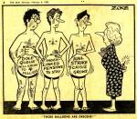 Margaret Thatcher meets The Greatest Show On Legs in a 1982 Sun newspaper cartoon