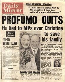The Daily Mirror reports Profumo's resignation