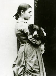 Beatrix Potter, aged 15, with her springer spaniel, Spot