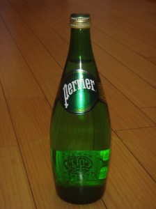 A photograph of a Perrier bottle without Boothby Graffoe