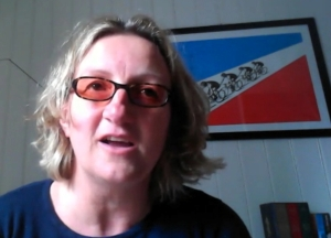 Sarah Hendrickx ponders her cycle of life on Skype yesterday