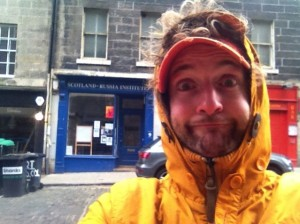 Comedian Tommy Holgate outside the soon-to-be Bob's Bookshop - formerly the Scottish-Russian Institute