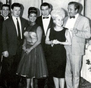 Reggie Kray, Micky Fawcett, singer Lita Roza, Ronnie Kray, actress Barbara Windsor & actor Ronald Fraser