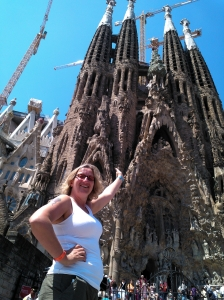 Sarah outside Sagrada Familia in Barcelona