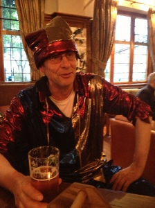 Martin Soan in full jester garb last night