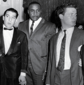 Micky Fawcett (right) with Ronnie Kray (left) & boxer Sonny Liston,
