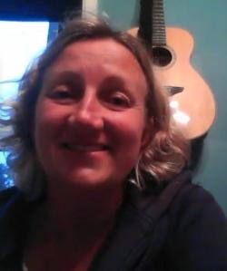 Suntanned Sarah Hendrickx yesterday on Skype