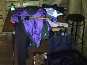 Dave's vicar garb, including axe and optional animal sacrifice