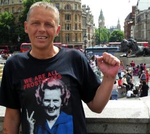 Del Strain in Trafalgar Square yesterday