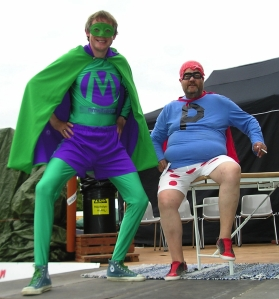 Mr Methane (left) and Championships presenter Phartman