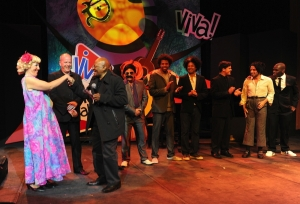 In South Africa, Desmond Tutu (third from left) and Matt Roper as 'Wilfredo' (second from right)