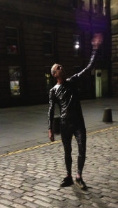 Arthur Smith, alien, in the Royal Mile last night