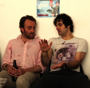 Yesterday's chat: Tim Fitzhigham (left) and Patrick Monahan (photograph by Garry Platt)