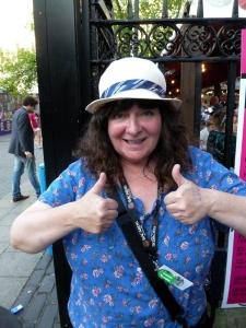 Janey Godley was untagged in Edinburgh yesterday