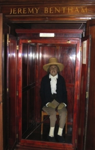 Jeremy Bentham sits, stuffed, at UCL