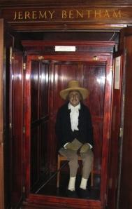 Jeremy Bentham sits, stuffed, at UCL