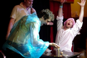 Patrick Monahan lost to Tim Fitzhigham in Russian Egg Roulette
