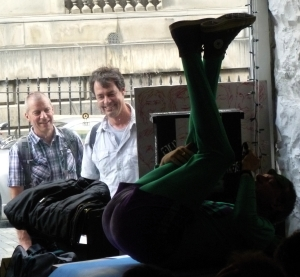 Yesterday, Mr Methane's window show entertained not just audiences but passers-by