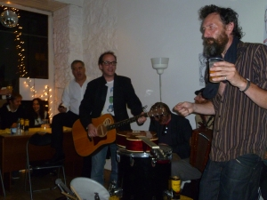 Lewis Schaffer (left) , Lach and Phil Kay last night