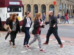 Bob Slayer failing to attract women in Edinburgh yesterday
