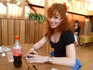 Laura Levites yesterday, reduced to borrowed Coca Colas