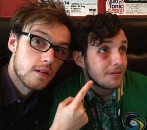 Richard Rose (left) wit Gareth Ellis and his eye yesterday