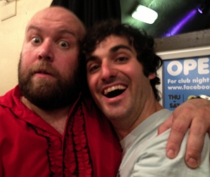Bob Slayer & Patrick Monahan hug at The Hive yesterday