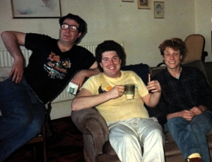 (From left) Malcolm Hardee, Paul Wiseman, Martin Soan (Photograph by Steve Taylor)