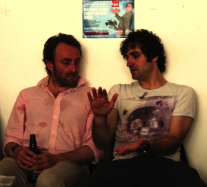 Tim Fitzhigham (left) and Patrick Monahan chat in Edinburgh