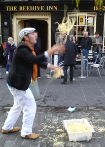 Adam juggling spaghetti  in Edinburgh in 2011