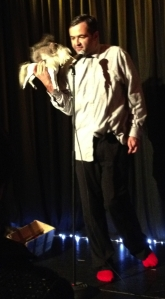 Marcus Whitfield as 'Simon' with fast-moving squirrel on horse at last Friday's Lost Cabaret show