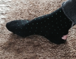 The sock on Martin Soan's right foot today