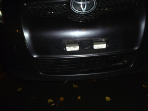 My car last night - without its numberplate